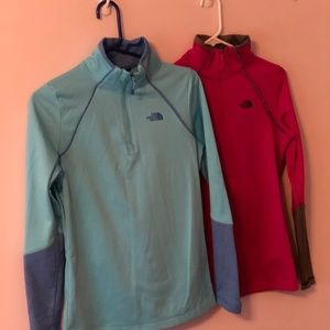 2 The North Face half zip pullovers